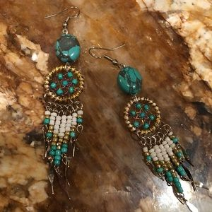 Genuine Napalese  turquoise dreamcatcher earrings